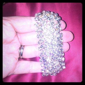 BCBGMAXAZRIA stretch glam bracelet with crystals.